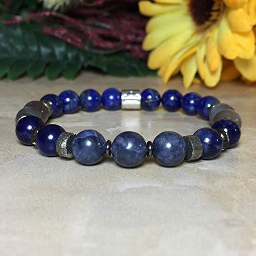 Womens Libra Zodiac Gemstone Bracelet, Genuine Sapphire Bracelet, Lapis Lazuli Bracelet, Gray Moonstone Bracelet, Astrology Bracelet,Zodiac ()