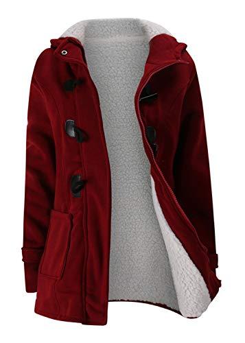 Women Fleece Lined Hoodie Pocket Button Zipper Cotton Duffle Coat Jacket Top(M,Burgundy) -