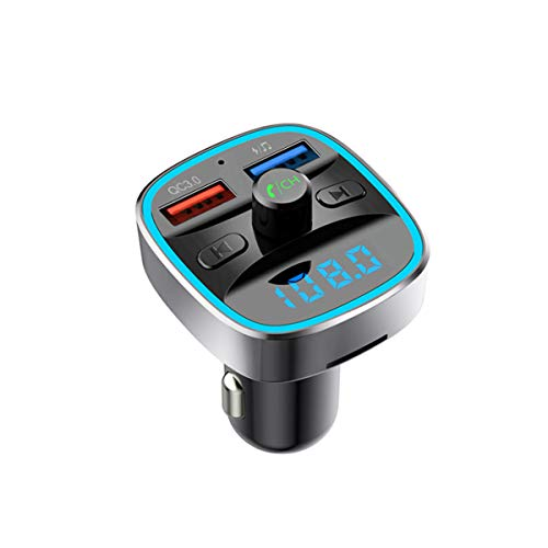 Bluetooth FM Transmitter for Car with QC3.0, [Upgraded 2019] Wallfire in-Car Radio Adapter Receiver Car Kit, Hands-Free Calling &Dual USB Charger, Support TF Card & USB Disk (Black) (Best Bluetooth Fm Transmitter 2019)