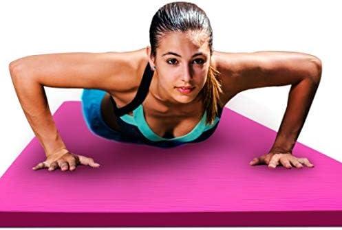 Eco friendly 特大のダブルヨガマット肥厚は、子どもたちが練習ノンスリップフィットネスマット家庭用ギフト収納袋200センチメートル* 130センチメートル* 15ミリメートルを踊る長い女の子が広がりました exercise (色 : Pink)