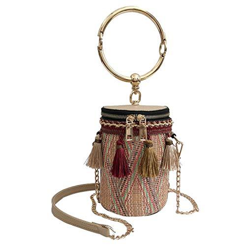 (Outique Clearance Sale!Fashion Women Retro Weave Feather Tassel Bucket Bag Crossbody Bag Shoulder Bag)
