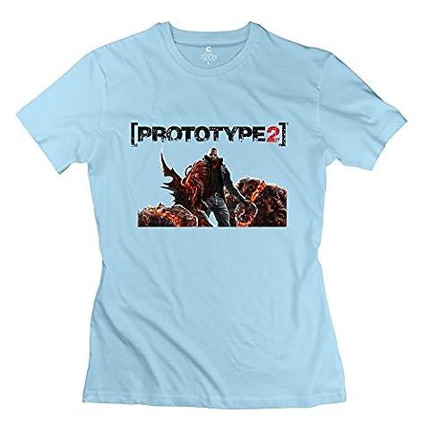 Prototype 2 Logo Geek 100% Cotton SkyBlue T Shirts For Women Size M (Gold Mercer Watch)