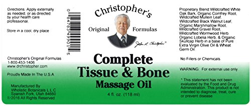 Christophers Tissue Oil Complete Massage (Dr. Christopher's Formulas Complete Tissue and Bone Massage Oil, 4 Ounce)
