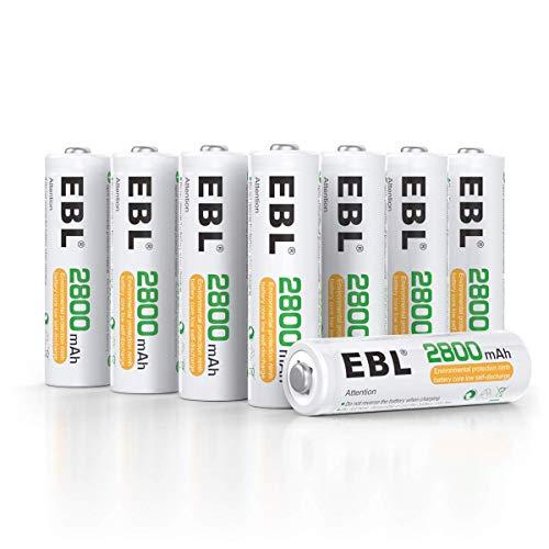EBL AA Akku 2800mAh 8 Stück - Mignon AA wiederaufladbare Batterien Typ Ni-MH geringe Selbstentladung mit Staubkasten, 1.2v AA Akkubatterien