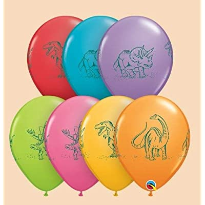 """Qualatex 11"""" Dinosaurs In Action Assortment Latex Balloons Bag of 10: Toys & Games"""