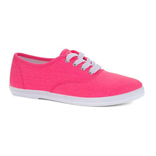 Twisted Women's Tennis Extra Bright Canvas Casual Sneaker - PINKIFY, Size 8