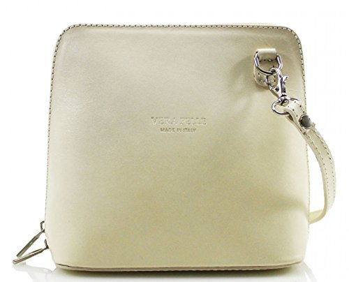 H&G Vera Pelle Trapez förmigen Mini italienischen Echtleder-Cross-Body-Tasche Handtasche (Camel) Beige
