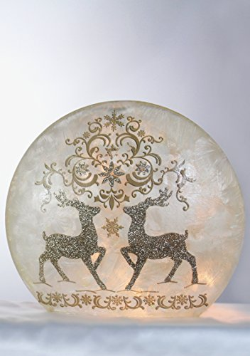 Prancing Deer (Stony Creek Nature Collection Frosted Lighted Glass (Round Glass, Champagne Prancing Deer-A))