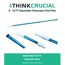 Durable Heavy Duty 16 ft. Deluxe Adjustable Blue Anodized Telescopic Pool Pole for Skimmer Bags & Professional Pool Cleaning, by Think Crucial