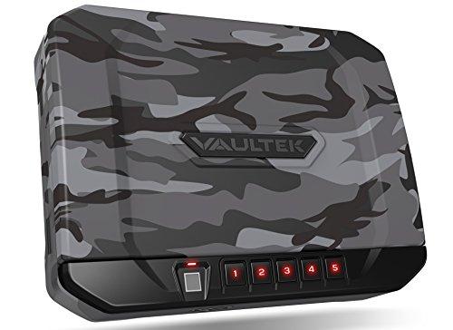 VAULTEK VT20i Biometric Handgun Safe Bluetooth Smart Pistol Safe with Auto-Open Lid and Rechargeable Battery (Urban Camo)