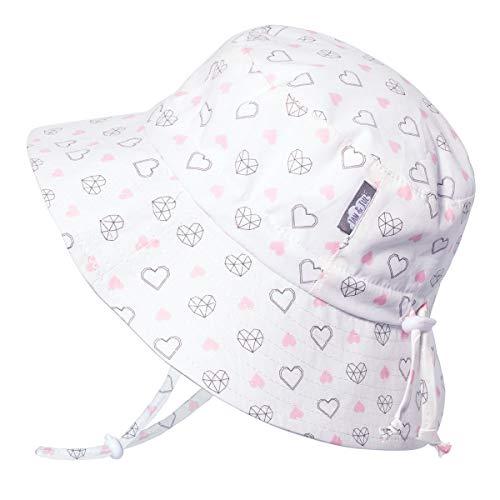 JAN & JUL Toddler Girls Cotton Bucket Sun Hats 50 UPF, Drawstring Adjustable, Stay-on Tie (M: 6-24m, Diamond Hearts)