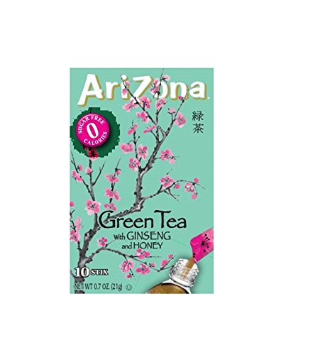Green Honey Sweet Tea (AriZona Green Tea with Ginseng Sugar Free Iced Tea Stix, 10 Count Per Box (Pack of 6), Low Calorie Single Serving Drink Powder Packets, Just Add Water for a Deliciously Refreshing Iced Tea Beverage)