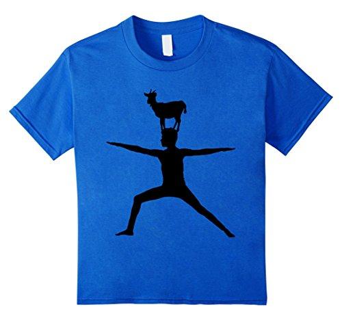 [unisex-child Cute Goat Doing Yoga T-Shirt - Farm Yoga Pose Tee 4 Royal Blue] (Blue Lotus Farm)