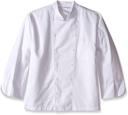 8 Button Chef Coat - Dickies Chef Executive Coat with Stain Repellent , White, 4X-Large