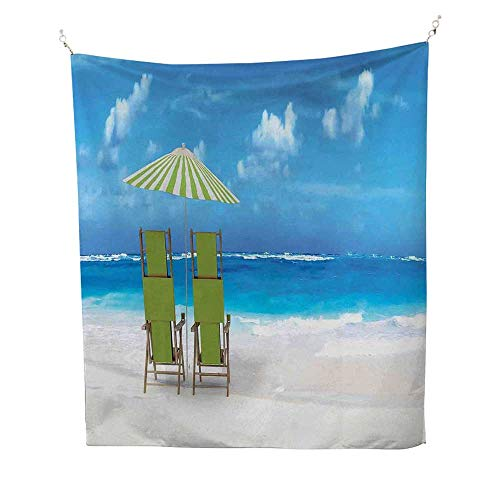 Seasidecool tapestrySunshade Drinks Pair of Reclining Chairs Facing to Ocean Seascape 57W x 74L inch Tapestry for wallBlue Lime Green and White ()