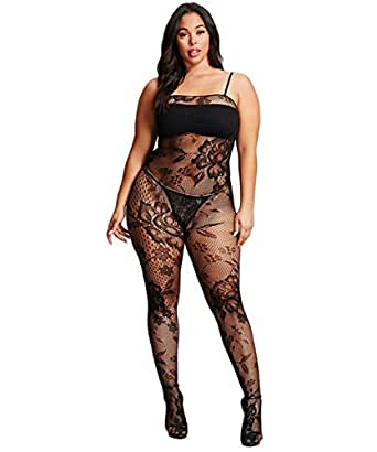 Plus Size Crotchless And Sheer Bodystockings
