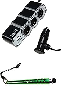 FoxyCase(TM) FREE stylus AND Chargers Universal Triple Sockets In-Car USB Charger (with Package)