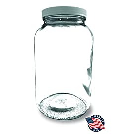 1 Gallon Wide Mouth Glass Mason Jar + Airtight Plastic Lid with Liner Seal ¥ USA MADE ¥ Ferment & Store Kombucha Tea or Kefir for Canning, Pickling & Preserving, Dishwasher Saf 47 THE STRONGEST GLASS JARS ON AMAZON - Our 1-gallon jars are made with extra thick walled glass that is crack resistant & more durable than the cheap Chinese competition. MADE IN USA - These 128-ounce jars are made with USDA glass that is food grade certified & free of any toxins, leaching or imperfections. PERFECT SIZE FOR CANNING, PRESERVING & FERMENTING - Use this 4 quart jar to store wet or dry goods such as kombucha, kefir, pickles, sauerkraut & scoby hotels.