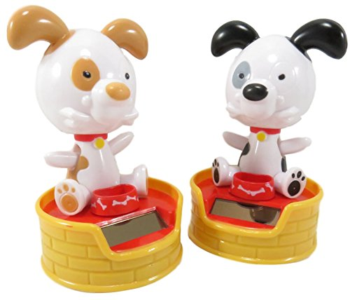Cute Solar Powered Dancing Happy Dogs Desk and Dashboard Décor 4 x 2.5 Black White Yellow (Set of 2) -