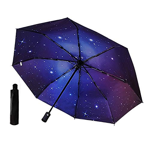 Umbrella Windproof, Tetako Auto Open and Close Travel Umbrella for Women and Men Folding with Reinforced Fiberglass Ribs and Double Canopy Use (Creative Starry Sky) ()