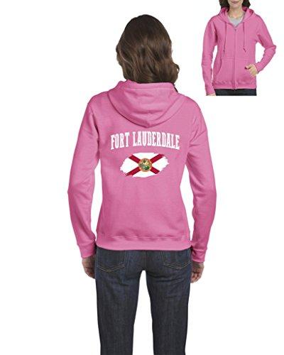 Fort Hood Zipper - Fort Lauderdale Florida Flag Traveler`s Gift Womens Sweaters Zip up (3XLAP)