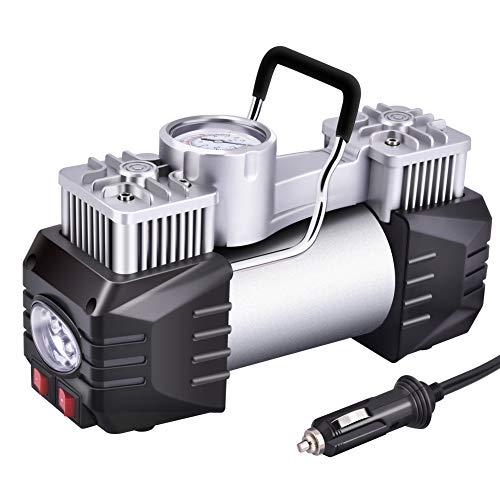 Pineeron Bomba de compresor de Aire portátil de Doble Cilindro, inflador de neumáticos de 12 V para Coche, camión, RV,...