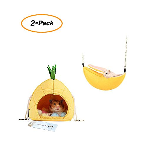 2 Pack of Hamster Bedding, Chinchilla Cage Accessories Hammock, Hamster House Toys for Small Animal Sugar Glider Squirrel Chinchilla Hamster Rat Playing ()