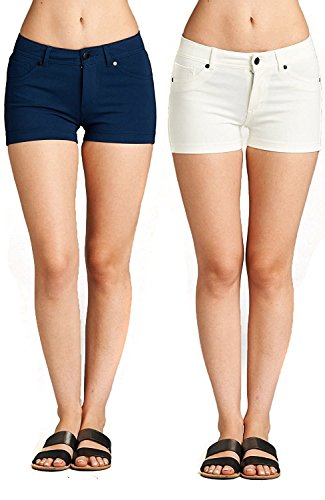 Emmalise Women's Summer Casual Stretchy Low Rise Booty Shorts, Navy White 2Pk, S ()