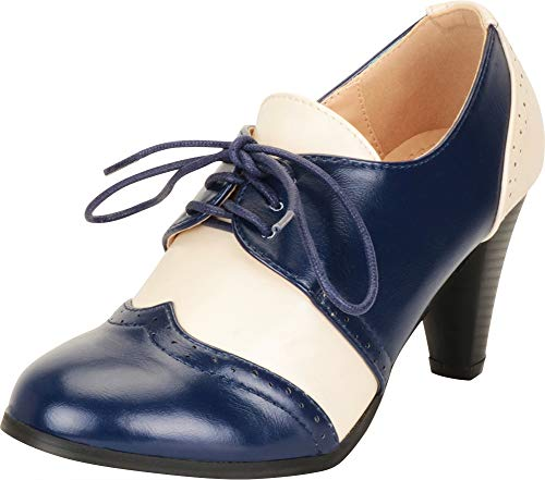 Cambridge Select Women's Retro Pinup Vintage Inspired Lace-Up Chunky Heel Wingtip Oxford,7.5 B(M) US,Navy/White ()