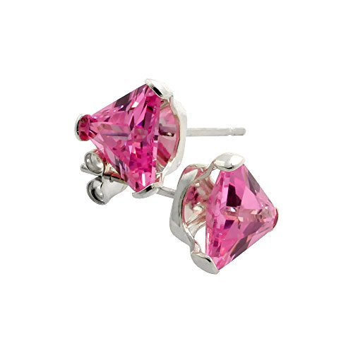 Sterling Silver Cubic Zirconia Pink Triangle Earrings Studs 7 mm Pink 2 1/4 carat/pair -