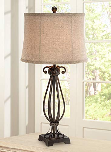- Taos Traditional Table Lamp Iron Open Scroll Base Neutral Burlap Shade for Living Room Family Bedroom Bedside Nightstand - Regency Hill