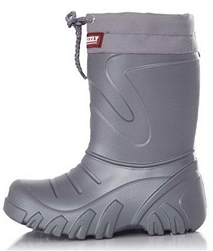 Kinder Jungen Mädchen Gummistiefel Regen Schnee Wellies Ultraleichte EVA Warm Grey G 26-27