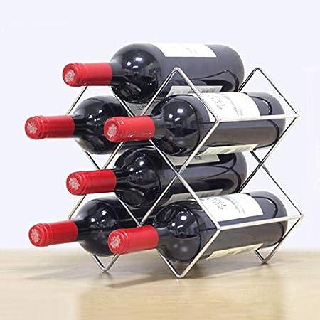 YQJ Estante para Botellas de Vino de encimera de Metal con geometría de pie con 6 10 ubicaciones de Botellas para Bar, Cocina y Restaurante,Plata,6 Bottles