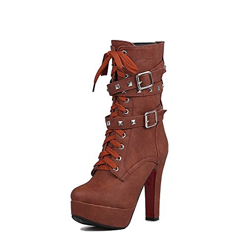 WeenFashion Women's Mid-Top Soft Material Closed Toe High-Heels Boots with Buckle, Brown-Platform, - Boots Platform Girl Spice