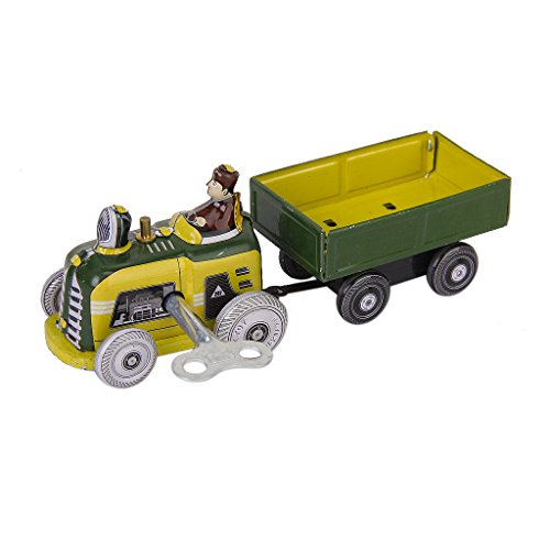 (tin toys new collector wind up 80s nostalgic metal toy tractor towing cargo cart green)