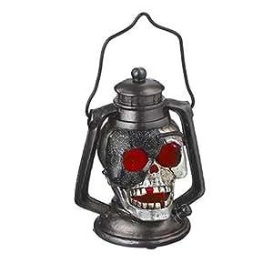 Light up Skull Figurine Lantern Halloween Decor - Bronze