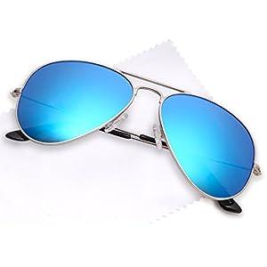 JETPAL Premium Classic Aviator Sunglasses w Flash Mirror and Polarized Lens Options UV400 (Polarized Blue Mirror Lens Silver Frame)