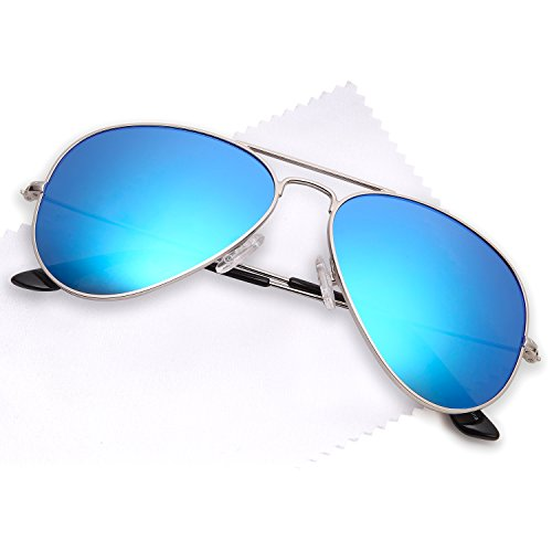 JETPAL Premium Classic Aviator Sunglasses w Flash Mirror and Polarized Lens Options UV400 (Non Polarized Blue Mirror Lens Silver - Blue Lens Aviator Sunglasses