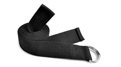 6FT Durable Elastic Cotton Yoga Strap Band with Metal D-Ring Best for Stretching Fitness Exercise Yoga Equipment (Black)