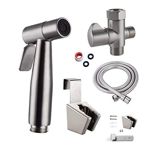 Stainless Steel Cloth Diaper Sprayer Kit Handheld Bidet Sprayer Set Shattaf Toilet Bidet Set with T-adapter Valve/Diverter and Shower Hose Basket Personal Hygiene Sprayer Bottom Cleaner For Bathroom ()