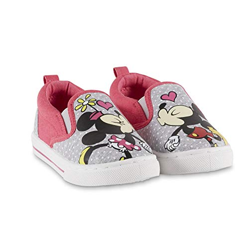 Disney Toddler Girls Mickey and Minnie Mouse Gray Pink Canvas Shoe (8 Toddler Girls US M)]()