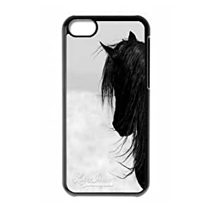 Fggcc Horse Black Hard Back Case for Iphone 5C,Horse Black Iphone 5C Case (pattern 6)