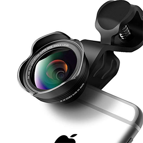 Smartphone Camera Lens,5K HD 3 in 1 Aspherical Wide Angle,0.45x128,Double Glass 20x Macro,Fish Eye 198 Clip-On Phone Lens Compatible Apple iPhone 8 Plus,Samsung,Andriod Phones No Distortion
