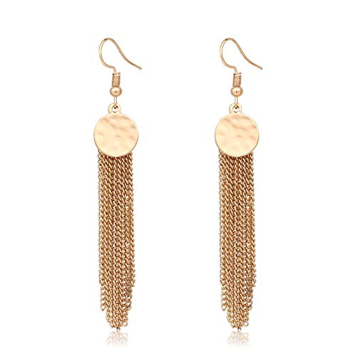JYJ Hammering Delicate Chain Tassel Earrings Sleek Fringe Earrings Stainless Steel Steel Dangle Drop Earrings for Wedding Party Bridal ()