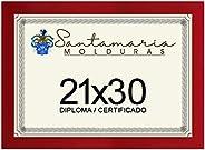 Moldura Porta Diploma Certificado A4 21x30 Vermelho