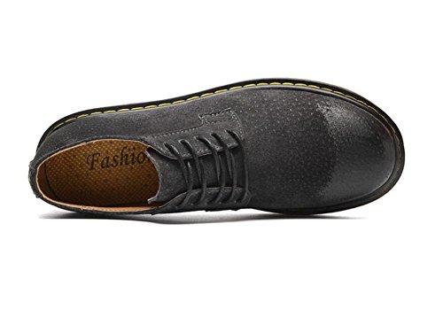 Zapatos Martín hombre Scrub 38 Leather Tamaño Entrenadores a Black de blanda Cordones Suela Retro 44 ZCrqX5Zw