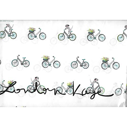 (Eclectic Blackbird London Kaye Whimsical Dogs Riding Spring Bicycles Novelty Bedding Sheet Set Pillowcases (2))