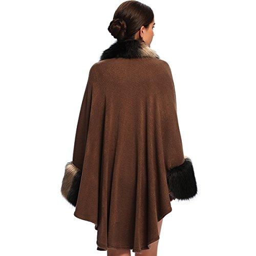 KAXIDY Abrigos de Invierno Mujer Chaqueta Abrigo Moda Piel de Imitación Ponchos Capas Caqui