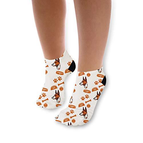 Basenji Dog Bone Bowl Collar Pattern Unisex Toddler Baby Ankle Socks Funny Novelty Kids Socks Polyester & Polyester Blend - 3 ()