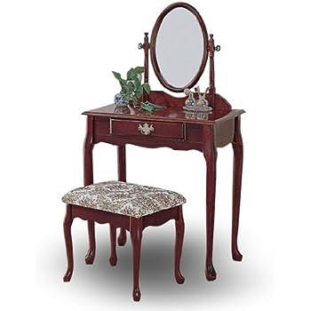 Amazon Com Cherry Wood Queen Anne Vanity With Table